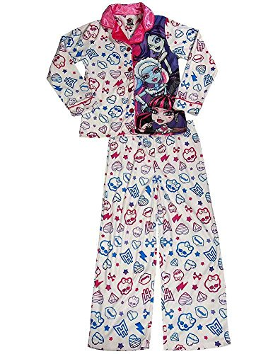 Monster High - Big Girls Long Sleeve Pajamas, White 37804-10/12 (Monster High Girl Names)