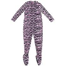 Pink Zebra Plush Footed Pajamas for Juniors L