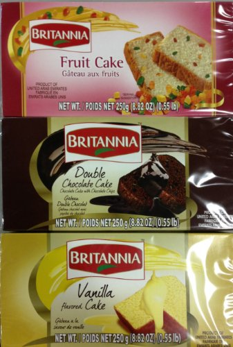 Britannia Pound Cakes - Three Different Flavors - Vanilla, Chocolate, & Fruit Cake (250 Gram Each)