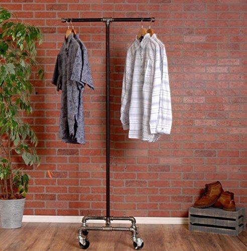 Industrial Pipe Rolling Clothing Rack 2-Way by William Robert's Vintage 0