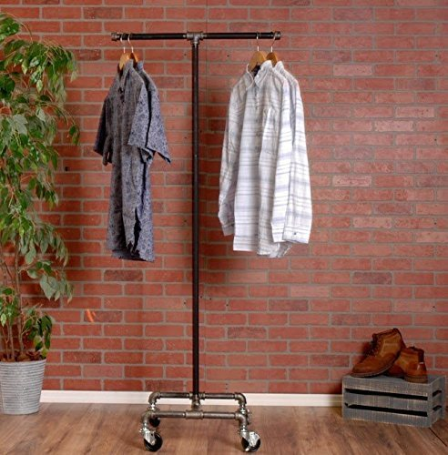 Industrial Pipe Rolling Clothing Rack 2-Way by William Robert's Vintage