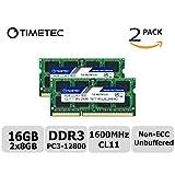 Timetec Hynix IC 16GB Kit(2x8GB) DDR3 1600MHz PC3-12800 Non ECC Unbuffered 1.35V CL11 2Rx8 Dual Rank 204 Pin SODIMM Laptop Notebook Computer Memory Ram Module Upgrade(16GB Kit(2x8GB))