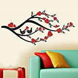 StickersKart Wall Stickers Heart Leaves Branch (Wall Covering Area: 100cm x 70cm)