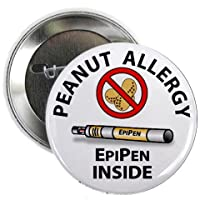 PEANUT ALLERGY EpiPen Inside Medical Alert 2.25 inch Pinback Button Badge from Creative Clam