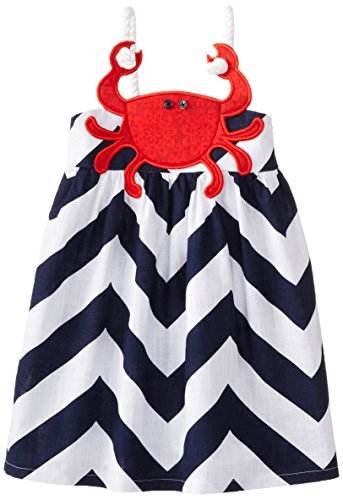 Mud Pie Little Girls' Crab Dress, Red/Blue, 3T