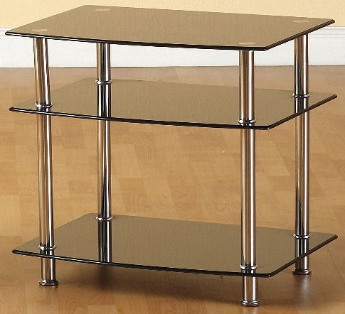 Hattie Black Glass Chrome Hi Fi Tv Unit Stand Modern