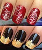 CHRISTMAS NAIL DECALS WATER TRANSFERS STICKERS ART SET #800. PLUS GOLD LEAF SHEET FOR CUSTOM DESIGNED NAIL! XMAS SEASONAL HOLIDAY SILVER DESIGN TREE SANTA FATHER TEDDY BEAR FLOWERS BAUBLES WRAPS & STUNNING 24KT GLIZZY GOLD LEAF FOR FULL HOLLYWOOD NAILS!