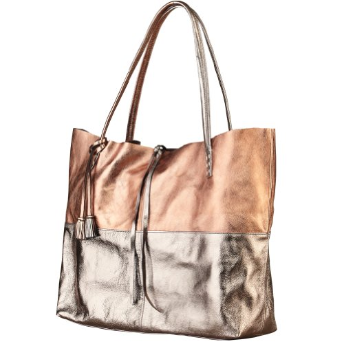 Women's Burnished Pewter And Copper-Tone Metallic Leather Goldwyn Tote Bag