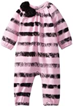 Maisonnette Baby-Girls Newborn Jungle Rose French Terry Striped Romper, Pink, 6 Months