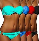 ALZORA Push Up Bandeau Twist Bikini Set Damen Pushup Badeanzug