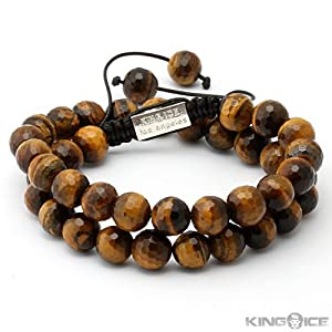 King Ice Cut Tiger Eye Bead Wrap Bracelet