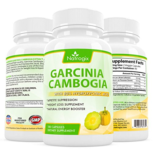 Natrogix 100% Pure Natural Garcinia Cambogia with 80% HCA (Hydroxycitric Acid) Complex All Natural Appetite Suppressant, Weight Loss Supplement Formula (Pure Hca Extract Naturabest compare prices)