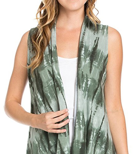 Women's Solid Color Sleeveless Asymetric Hem Open Front Cardigan -Made in USA (Small, Shades of Gree..