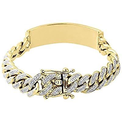 "10K Yellow Gold Round Cut Diamond Men's Curb Cuban Link ID 8.5"" Bracelet 4.25 Cttw"
