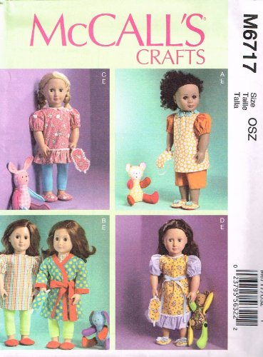 McCall Patterns M6717 Clothes for 18-Inch Doll Mask, Slippers and Toy Sewing Template, One Size Only - 1