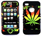 Heavy duty double impact hybrid Cover case Big Leaf hard plastic snap on over black soft silicone for Apple iphone 4 4G 4s for SPRINT/ Verizon/AT&T/VIRGIN MOBILE/US CELLULAR