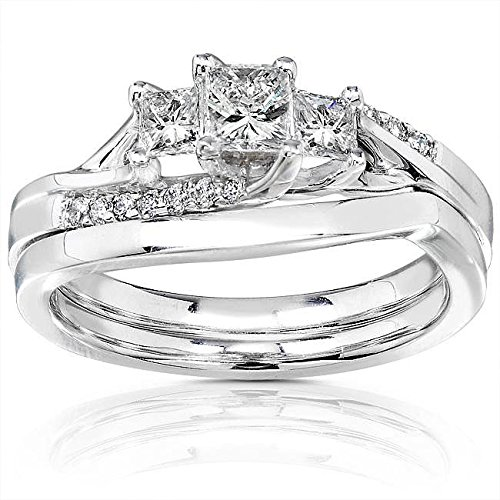 0.58 Carat Three Stone Engagement Ring Sets Princess cut Diamond on 14K White gold