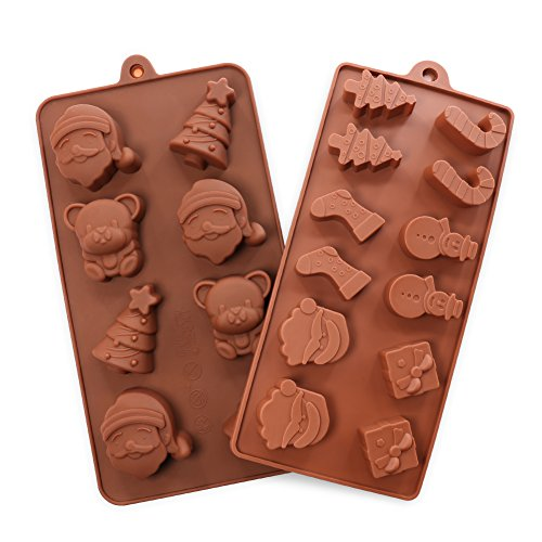 Candy Molds, 2PCS YYP [Christmas Shape Mold] Silicone Candy Making Molds for Home Baking - Reusable Silicone DIY Baking Molds for Candy, Chocolate or More, Set of (Homemade Halloween Candy For Kids)