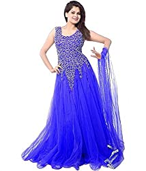 Sheryl Trendz Soft net Blue Color Semi Stiched Gown