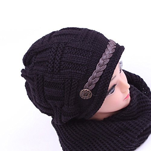 Cheapest Prices! Women Girls Fashion Soft Winter Knitted Black Cap and Black Neckerchief