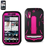 (Super Cover /Silicone Case + Protector Cover) Hard Case for Motorola Photon 4G MB855 BLACK/PINK (SLCPC06-MOTMB855BKHPK)