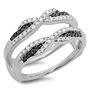 0.50 Carat (ctw) 14K White Gold Black & White Diamond Swirl Wedding Guard Double Band 1/2 CT (Size 6.5)