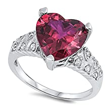 buy Sterling Silver Heart Prong Ring With Pink Red And Clear Cz Stones - Size8