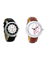Gledati Men's Black Dial And Foster's Women's White Dial Analog Watch Combo_ADCOMB0001830