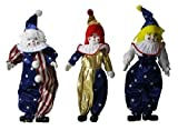 Trio Clown Porcelain Doll 7 Inches with Flag Day Cloth