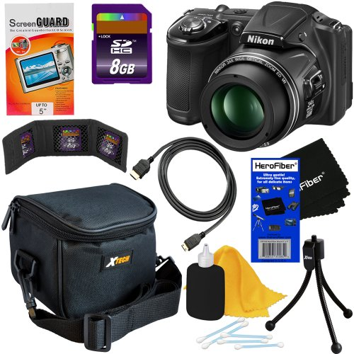 "Nikon Coolpix L830 16 Mp Cmos Digital Camera With 34X Zoom Nikkor Lens, Hd Video & Tiltable 3"" Lcd - Black (Import) + 8Pc Bundle 8Gb Accessory Kit W/ Herofiber® Ultra Gentle Cleaning Cloth"