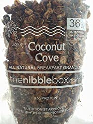Coconut Cove - All Natural (No Added Sugar) Breakfast Granola - Healthy, Nutritious oat Cereal/ healthy snack, with cacao nibs (80 gms x 3 packs) from thenibblebox.com