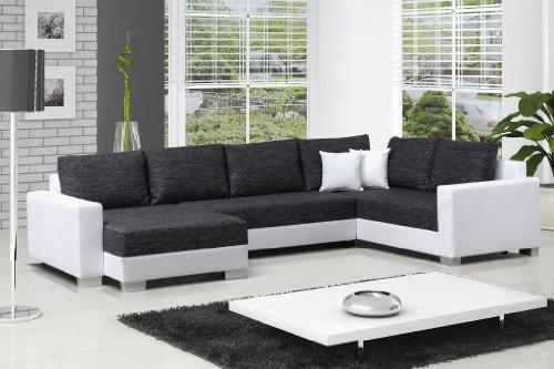 Couchgarnitur PUEBLA mit Schlaffunktion und Bettkasten in modernem Design, abgesetzte Nähte, doppelte Verbindung von Kunstleder uns Stoff, komfortabel und präzise verarbeitet, in diversen Stoffen und Farben ohne Aufpreis erhältlich, Lieferzeit 5-10 Werktage.