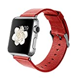 Orzly® - DESIGNER STRAP for APPLE WATCH 38MM - RED FAUX LEATHER - Made by Orzly® specifically for use with the AppleWatch (Fits 38mm Version of BASIC Model and EDITION Verson, but NOT FOR SPORT Model)