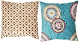 Rizzy Home T-4184 Decorative Pillows, 18 by 18-Inch, Teal/Orange/ Purple, Set of 2