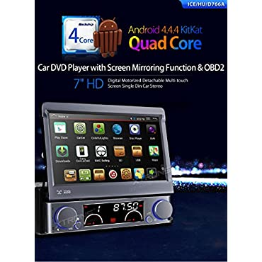 Single 1DIN 4-Core Android 4.4 7 Flip Out GPS Car Stereo DVD Player Mirror Link