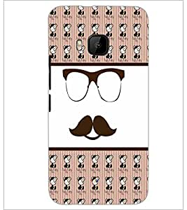PrintDhaba Mustache D-4780 Back Case Cover for HTC ONE M9 (Multi-Coloured)