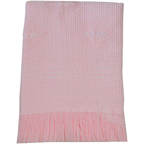 Large Soft Pink Acrylic Baby Shawl / Blanket - Stars & Cable Design, 122 x 122 cm