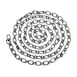 Linsoir Beads F3617 Stainless Steel Figaro Link Chain Irregular Rolo Cable Chain 5.5MM Pack of 5 Meters
