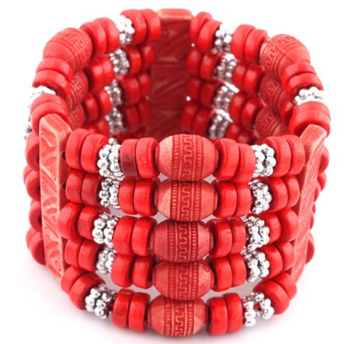 Ladies Red 5 Row Spacers & Bars Style Wooden Beaded Stretch Bracelet