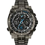Bulova Precisionist Chrono Men's Quartz Watch with Black Dial Chronograph Display and Grey Stainless Steel Bracelet 98G229