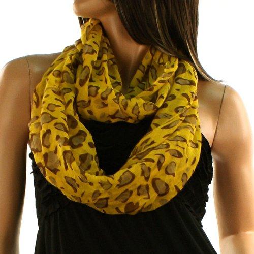 Pop Color Leopard Animal Print Loop Circle Chain Infinity Scarf Chain Mustard