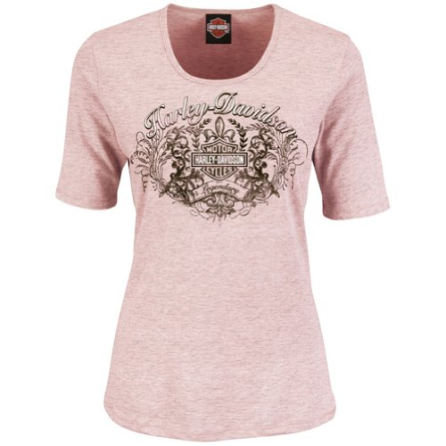 Harley-Davidson Womens Vintage Legend Heathered Pink Half Sleeve T-Shirt