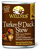 Wellness Canned Dog Food for Adult Dogs, Turkey and Duck Stew with Potatoes/Cranberries, 12-Pack of 12-1/2-Ounce Cans