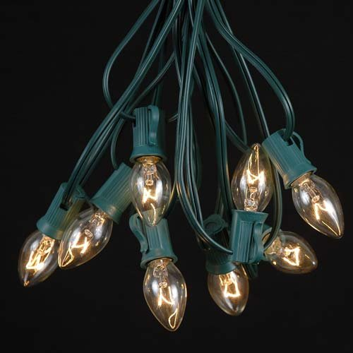 C9-Clear-Christmas-Lights-Set-IndoorOutdoor-Christmas-Light-String-Christmas-Tree-Lights-Hanging-Christmas-Lights-Roofline-Light-String-Outdoor-Patio-String-Lights-Green-Wire-25-Foot