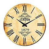 MeSleep Station Vintage Wall Clock With Glass Top