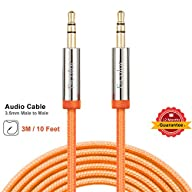 3.5mm Male To Male Stereo Audio Cable, F-color™ 10ft Nylon Braided Premium 24K Gold Plated…