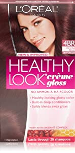 L'Oreal Healthy Look Creme Gloss Hair Color, 4BR Dark Red Brown/Cherry Chocolate