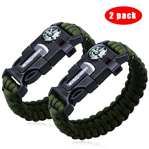 2PCS PACK Multifunctional Paracord Bracelet, Sahara Sailor Outdoor Survival Kit Parachute Cord Buckle W Compass Flint Fire Starter Scraper Whistle for Hiking Camping Emergency - army green