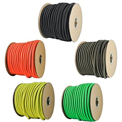 "Paracord Planet 1/4"" Elastic Cord Crafting Stretch String with Various Colors - Choose from 10, 25, 50, and 100 Feet, Made in USA"