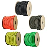 "1/4"" Elastic Cord Beading Crafting Stretch String with Various Colors - Choose from 10, 25, 50, and 100 Feet, Made in USA"